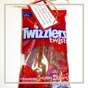 20. A wind of his eye and a twist of his head, soon gave me to know I had nothing to dread tag tied to Twizzler licorice twists.