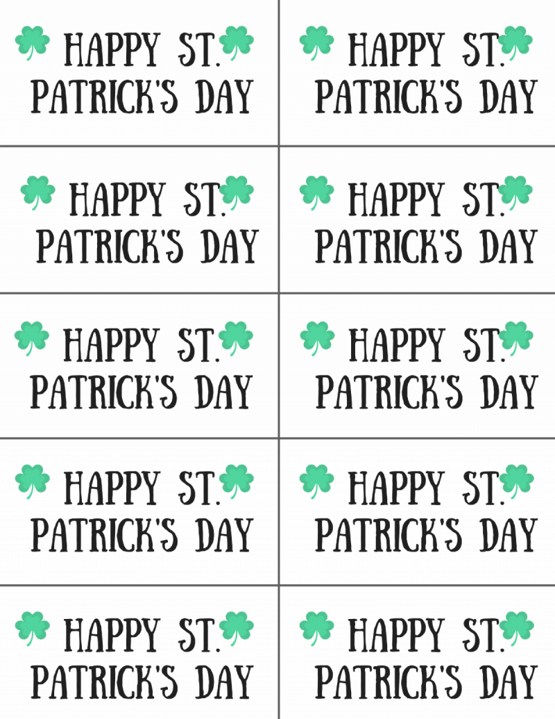 """10  printable tags with 2 shamrocks that say """"Happy St. Patrick's day"""""""